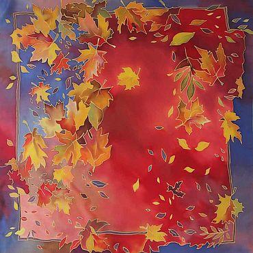 Аксессуары ручной работы. Ярмарка Мастеров - ручная работа Шелковый платок батик Кленовый. Handmade.