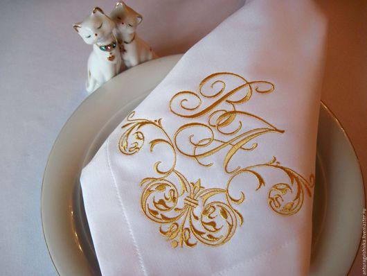Вышитые салфетки, Салфетки с вышивкой, Декоративные салфетки,Вышитая салфетка, Практичный подарок, Подарок на свадьбу, Монограмма на свадьбу