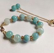 Украшения handmade. Livemaster - original item Bracelet and earrings of blue agate in gold. Handmade.