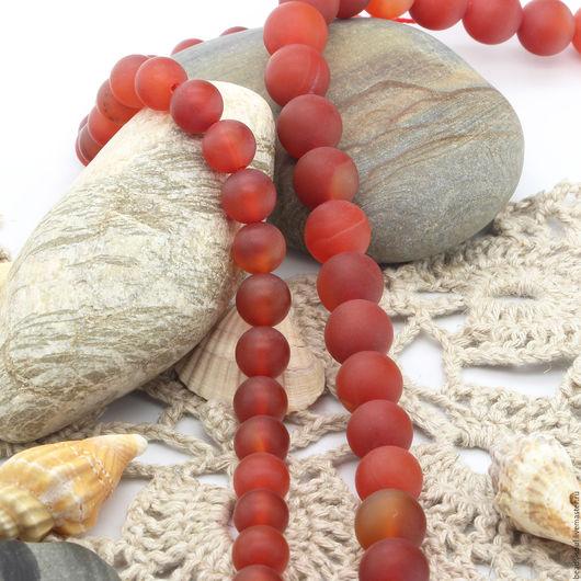 Для украшений ручной работы. Ярмарка Мастеров - ручная работа. Купить Сердолик матовый бусины шар 8мм - арт.12-20. Handmade.