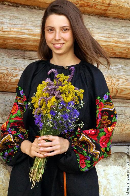 Платья ручной работы. Ярмарка Мастеров - ручная работа. Купить Рубаха павловопосадская черная льняная с прямыми поликами женская. Handmade.