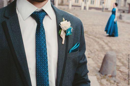 Одежда и аксессуары ручной работы. Ярмарка Мастеров - ручная работа. Купить Бутоньерка с цветами из полимерной глины. Handmade. Синий, розовый