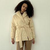 handmade. Livemaster - original item Insulated coat with a beige belt. Handmade.