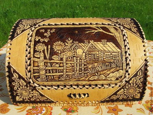 """Кухня ручной работы. Ярмарка Мастеров - ручная работа. Купить Хлебница из бересты """"Деревенька"""". Handmade. Хлебница, берестяная хлебница"""