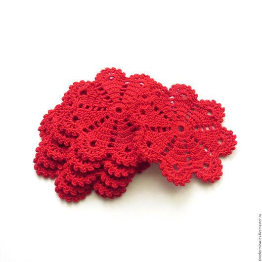 Кухня ручной работы. Ярмарка Мастеров - ручная работа. Купить подставки под горячее, под кружки, снежинки, красный. Handmade.