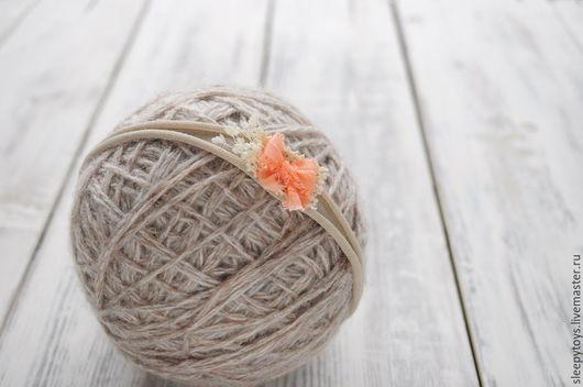 Для новорожденных, ручной работы. Ярмарка Мастеров - ручная работа. Купить Повязка на голову для фотосессии новорожденных персиковый бант. Handmade.