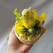"""Подарки к праздникам ручной работы. Ярмарка Мастеров - ручная работа Букет из конфет """"Пасхальный"""", подарок на Пасху, цыплёнок, пасхальные. Handmade."""