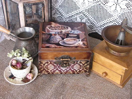 """Корзины, коробы ручной работы. Ярмарка Мастеров - ручная работа. Купить Шкатулка для кофе """"Кофе в старых семейных традициях"""". Handmade."""