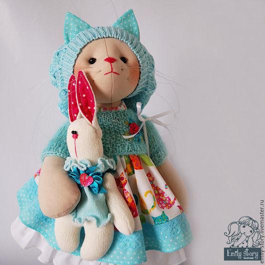 Игрушки животные, ручной работы. Ярмарка Мастеров - ручная работа. Купить Кошечка  Kitty. Handmade. Бирюзовый, кошка, текстильная игрушка