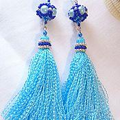 Украшения handmade. Livemaster - original item Serigi brushes long blue beaded 051. Handmade.