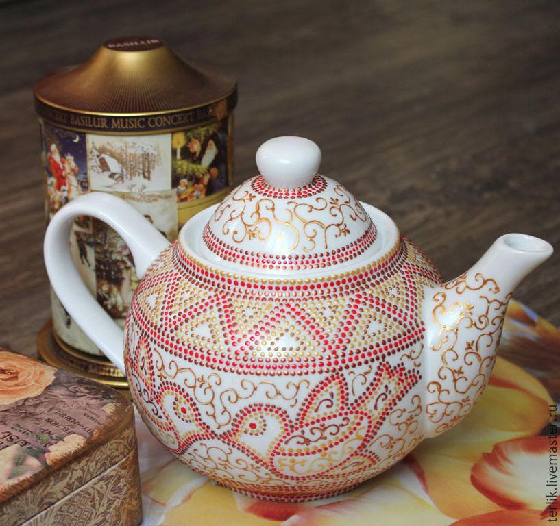 b03dc799cdf4 ... фарфоровая чайная посуда, заварочный чайник с птичками, ручная роспись  фарфора, заварной чайник с