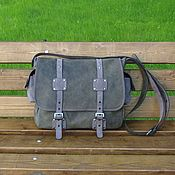 Сумки и аксессуары handmade. Livemaster - original item Men`s leather messenger bag LEGION khaki with grey. Handmade.