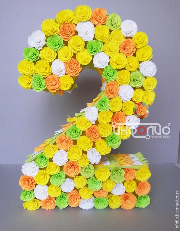 Цифры из цветов из бумаги своими руками