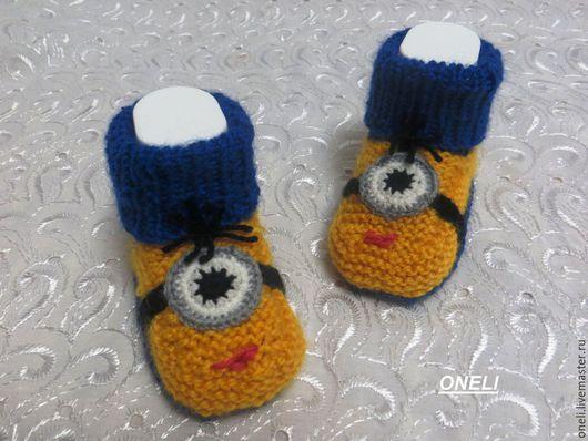 """Для новорожденных, ручной работы. Ярмарка Мастеров - ручная работа. Купить Пинетки-носочки """"Миньоны"""". Handmade. Желтый, пинетки вязаные"""