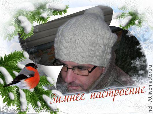 """Для мужчин, ручной работы. Ярмарка Мастеров - ручная работа. Купить Мужская шапка """"Для тебя-1"""". Handmade. Белый"""