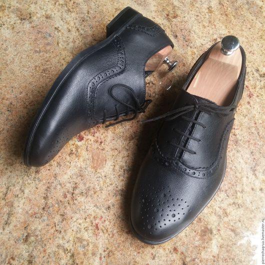 Обувь ручной работы. Ярмарка Мастеров - ручная работа. Купить Мужские броги Pierre Chaqrua. Handmade. Черный, обувь на осень