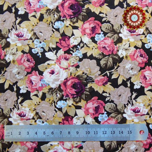 Ткань хлопок `Розы Уильяма тёмно-коричневый`. Код товара: ZT-00015