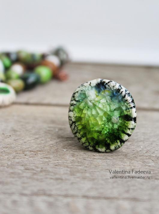 Кольца ручной работы. Ярмарка Мастеров - ручная работа. Купить Фарфоровое кольцо. Handmade. Зеленый, фарфоровая бижутерия, медная фурнитура