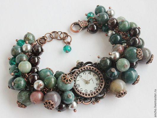"""Часы ручной работы. Ярмарка Мастеров - ручная работа. Купить Часы """"Зелёная яшма"""". Handmade. Морская волна, браслет"""