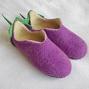 """Обувь ручной работы. Ярмарка Мастеров - ручная работа Тапочки """"Баклажан"""". Handmade."""