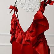 Одежда ручной работы. Ярмарка Мастеров - ручная работа Блузка из красного натурального шелка. Handmade.