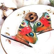 Украшения handmade. Livemaster - original item Transparent Earrings Bright Fluttering Butterfly Peacock Red Black. Handmade.