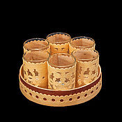 Посуда handmade. Livemaster - original item A set of stacks from birch bark. Gift set of wine glasses for vodka. Handmade.