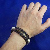 Украшения handmade. Livemaster - original item Leather bracelet with amethyst and pearls Runogramma. Handmade.