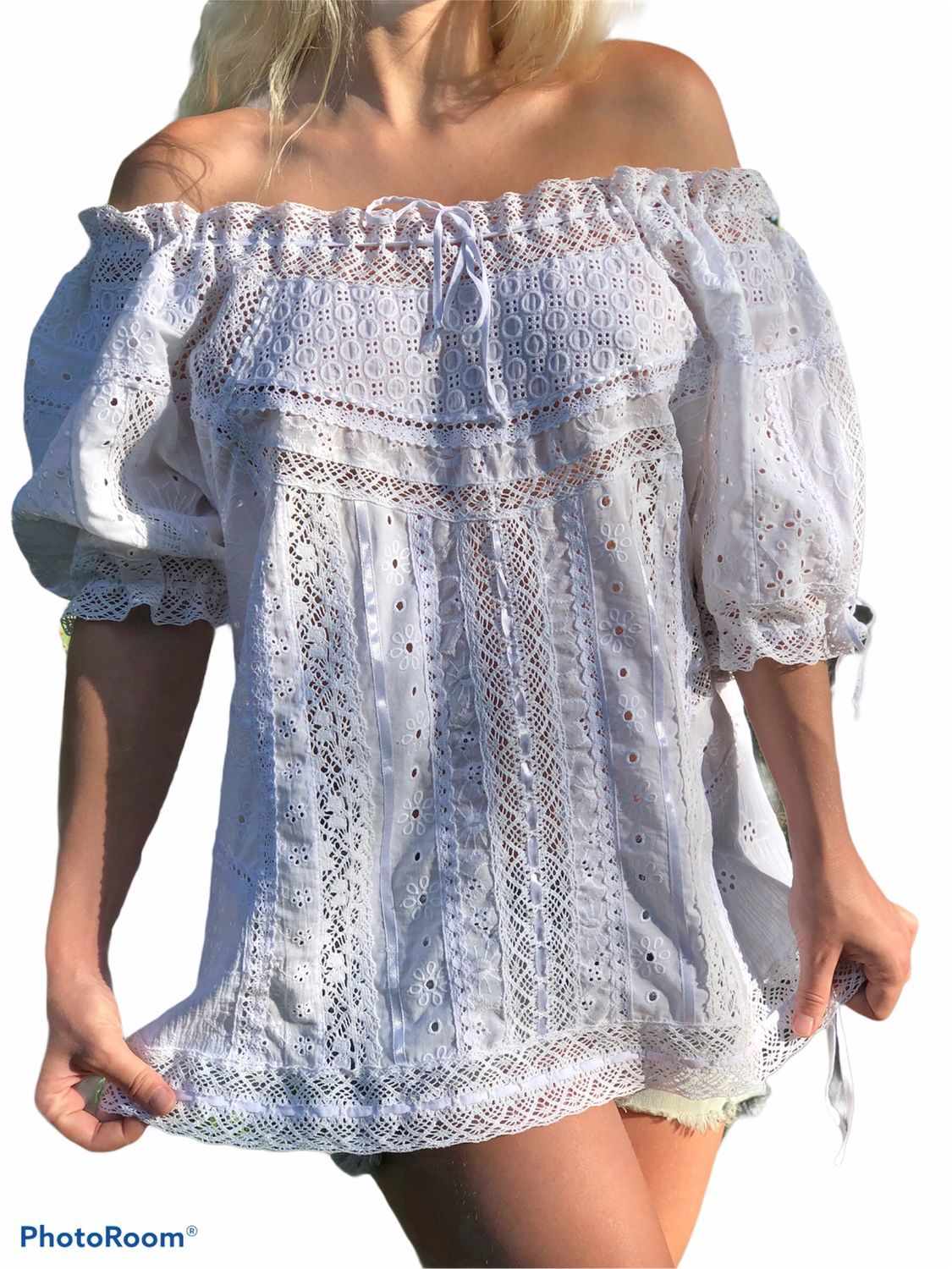Summer blouse made of cotton and lace in boho style Adaline white black, Blouses, Tashkent,  Фото №1