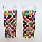 Стаканы ручной работы. Ярмарка Мастеров - ручная работа Стеклянные стаканы, стаканы с росписью, радужные стаканы в клеточку. Handmade.