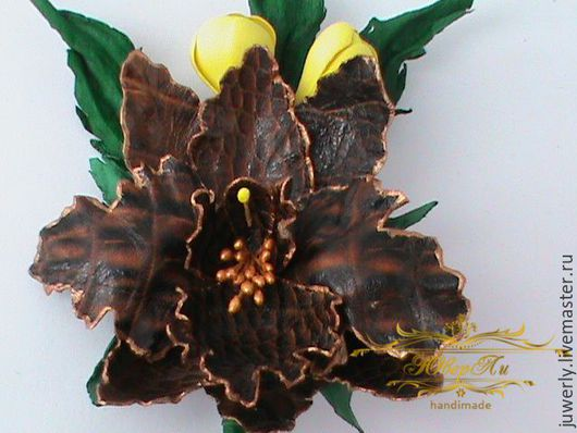Украшение Орхидея - брошь из кожи