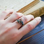 Украшения handmade. Livemaster - original item Copper ring with green hematite Elf ring Twigs Nature. Handmade.