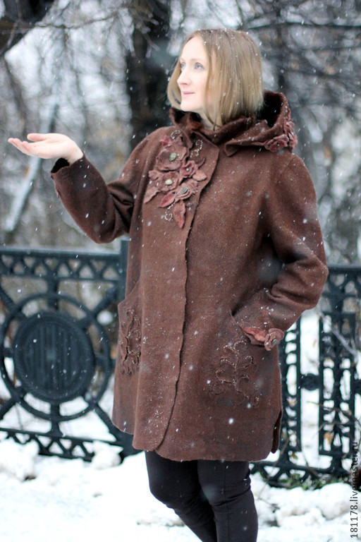 """Верхняя одежда ручной работы. Ярмарка Мастеров - ручная работа. Купить Зимнее полупальто """"Прага"""". Handmade. Коричневый, короткое пальто"""