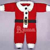 """Работы для детей, ручной работы. Ярмарка Мастеров - ручная работа Комбинезон новогодний """"Санта Клаус"""" вязаный детский, для фотосессии. Handmade."""