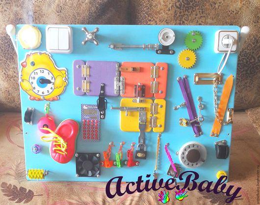 Развивающие игрушки ручной работы. Ярмарка Мастеров - ручная работа. Купить Бизиборд. Handmade. Комбинированный, игрушка, акриловые краски и лак