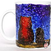 """Посуда ручной работы. Ярмарка Мастеров - ручная работа """"Ежик в тумане"""" - чашки с фоном. Handmade."""