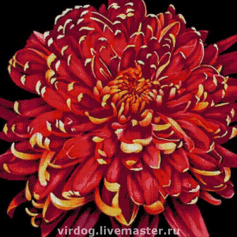 Вышивка бисером хризантема