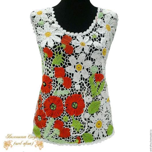 Блузки ручной работы. Ярмарка Мастеров - ручная работа. Купить блузка вязаная крючком  Лесная поляна. Handmade. Разноцветный