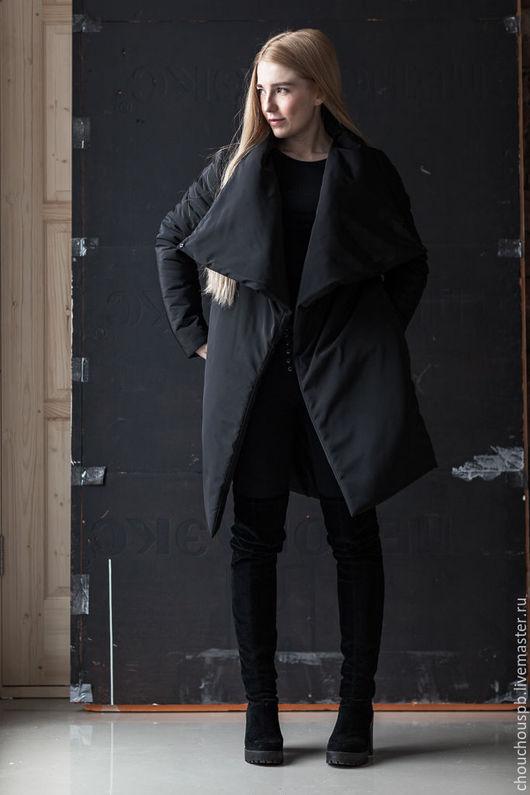 Верхняя одежда ручной работы. Ярмарка Мастеров - ручная работа. Купить Куртка-Пальто big Upturned. Handmade. Черный