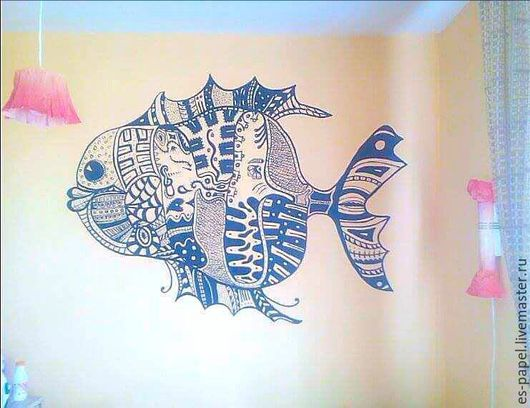Абстракция ручной работы. Ярмарка Мастеров - ручная работа. Купить Рыба (роспись стен). Handmade. Черный, интерьер комнаты, абстракция