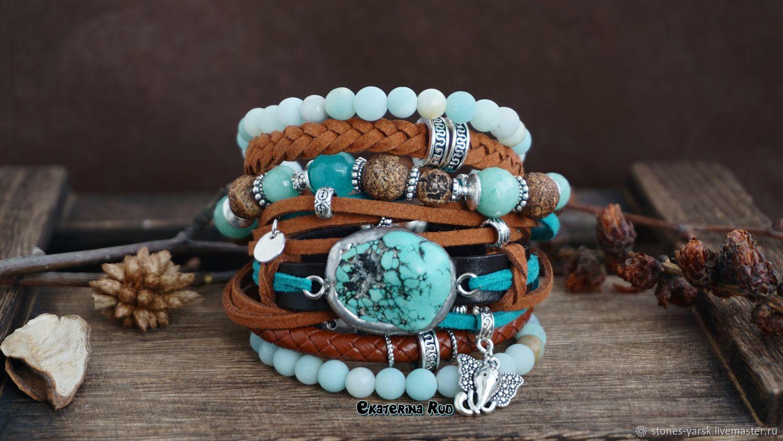 BOHO style bracelet with turquoise ' Turquoise-chocolate', Bead bracelet, Moscow,  Фото №1
