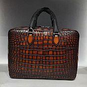 Сумки и аксессуары handmade. Livemaster - original item Bag-briefcase, men`s crocodile skin, in maroon color.. Handmade.