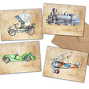 Открытки handmade. Livemaster - original item Transport Cards for men Retro car the engine, the plane. Handmade.