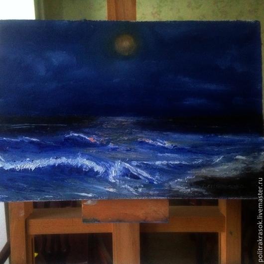 Пейзаж ручной работы. Ярмарка Мастеров - ручная работа. Купить Пейзаж. Ночное море. Handmade. Тёмно-синий, волна, подарок