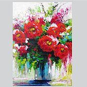 handmade. Livemaster - original item Palette knife painting on canvas. Flower painting. Red flowers. Handmade.
