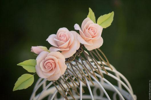 Заколки ручной работы. Ярмарка Мастеров - ручная работа. Купить Гребень с персиковыми розами. Handmade. Бежевый, гребень для невесты