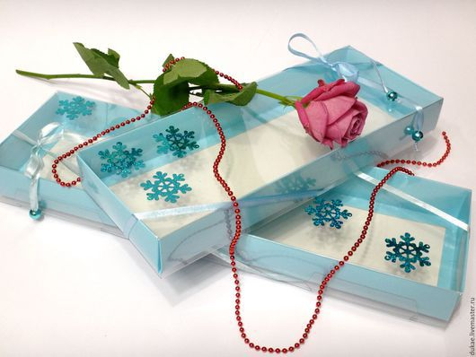 Подарочная упаковка ручной работы. Ярмарка Мастеров - ручная работа. Купить Коробка-пенал. Handmade. Голубой, пластиковая упаковка