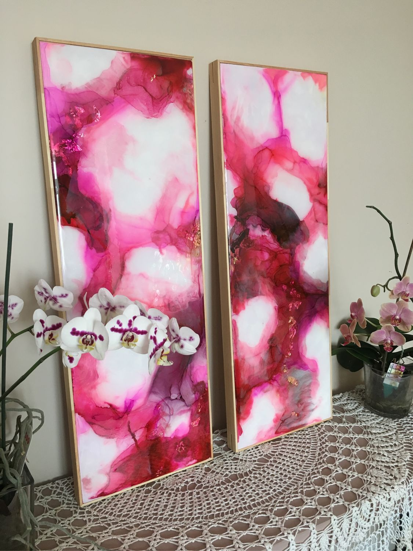 Абстракция ручной работы. Ярмарка Мастеров - ручная работа. Купить GRANAT-1, 80/30см, ART-Resin диптих. Handmade.