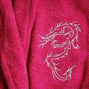 Одежда ручной работы. Ярмарка Мастеров - ручная работа Махровый халат с вышивкой 1560. Handmade.