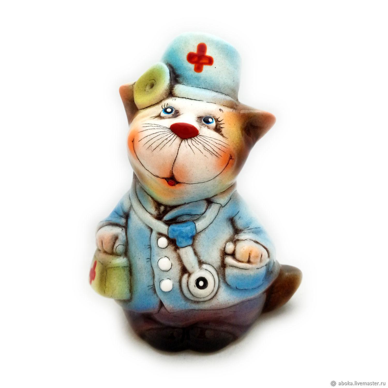 """Керамическая статуэтка """"Кот доктор"""", Статуэтки, Балашиха,  Фото №1"""
